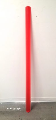 10/30/13 (Red Leaner), 2013, urethane, 82 x 5 1/4 x 4″