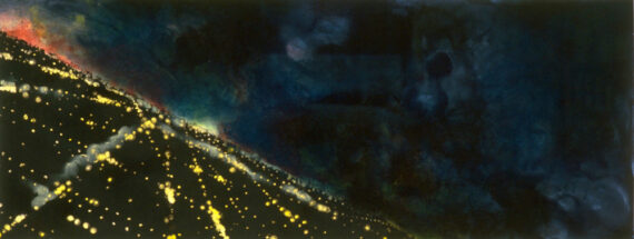 Cliff, 1991, watercolor and pastel on paper, 17 x 45″