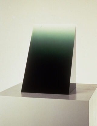 Green Wedge, 1969, cast polyester resin, 14 1/2 x 9 1/2 x 8 3/4″