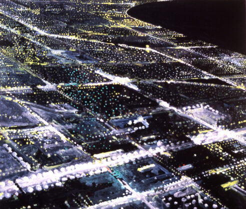 Lawndale, 1988, acrylic and oil on canvas, 72 x 84″