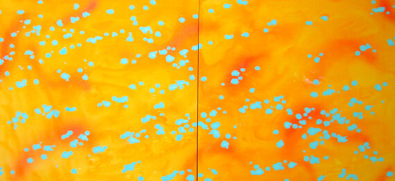 Peach, 2004, acrylic on panel, 36 x 80″