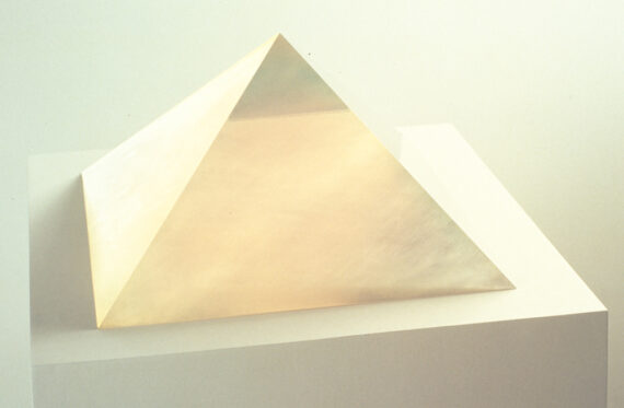 Peach Pyramid, 1967, cast polyester resin, 7 3/4 x 13 1/2 x 13 1/2″