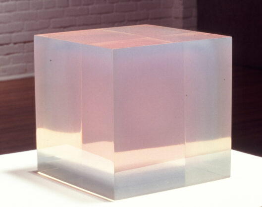 Pink Blue Cube, 1967, cast polyester resin, 8 x 8 1/2 x 8 7/8″