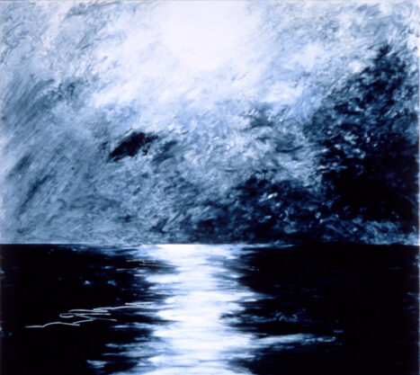 Punta Curso, 1985, oil and wax medium on canvas, 48 x 53″