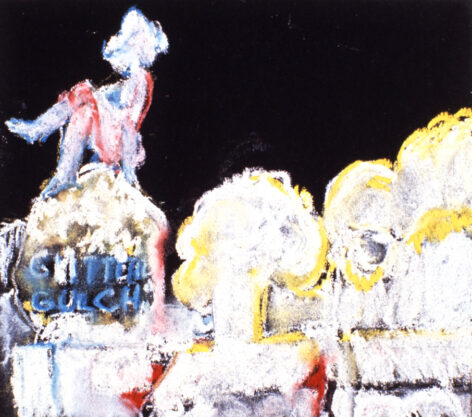 Study for Glitter Gulch, 1993, pastel on paper, 8 x 9″