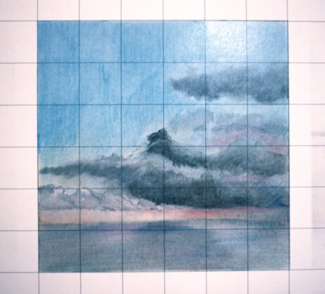 February 14, 1973, 1973, pastel on graph paper, 9 x 9″
