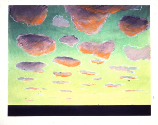 Untitled (Sunset), 1973, pastel on paper, 23 x 29″