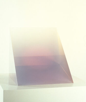 Violet Wedge, 1969, cast polyester resin, 12 x 11 5/8 x 11″