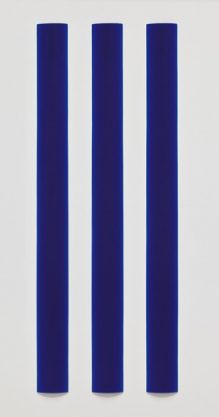 Blue Bar Triptych, 2010, polyester resin, 60 x 5 1/4 x 1/2″