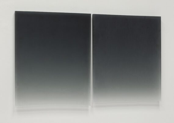 Black Diptych, 2011, polyester resin, 26 x 21″ each