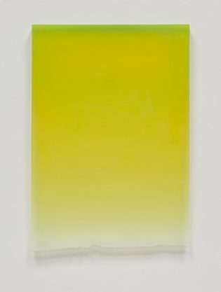 Caution Yellow Drip, 2011, polyester resin, 25 x 17 x 1″