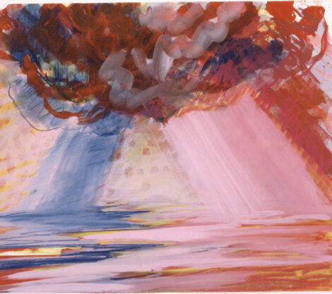 Chula Vista Cirrus, 1982, gouache on lithograph, 30 x 35″
