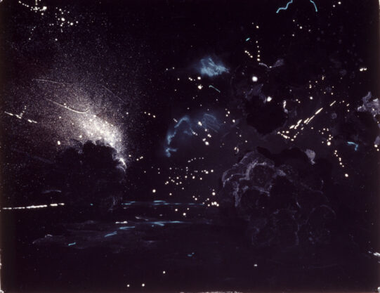 Explosion, 1976, mixed media on paper, 22 x 30″