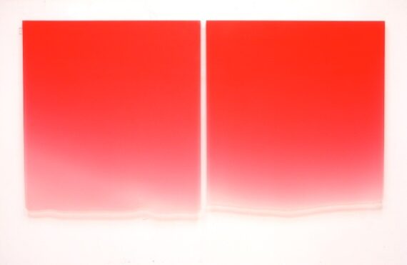1/10-13/12 (Large Red Drip Diptych), 2012, urethane, 43 x 41 x 1 1/4″ and 43 x 40 x 1 1/4″