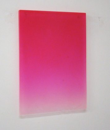 12/10/10 (Flo Pink Drip), 2010, polyester resin, 25 x 17 3/4 x 1 1/4″