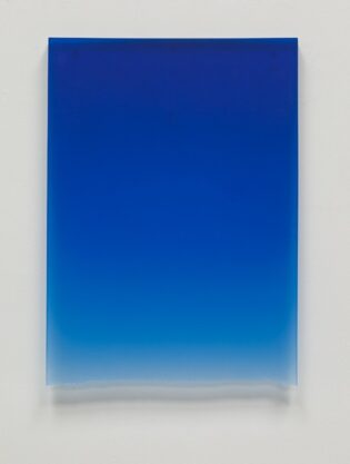 Royal Blue Drip, 2011, polyester resin, 24 x 17 x 1″