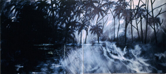 Sarabhai, 1986, oil and wax on canvas, 48 x 106″