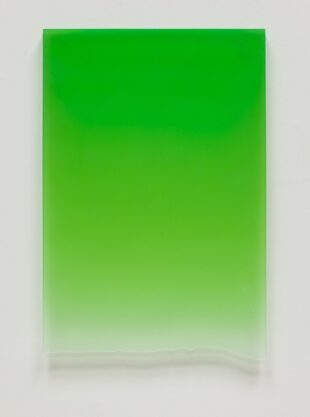 Signal Green Drip, 2011, polyester resin, 25 x 17 x 1″