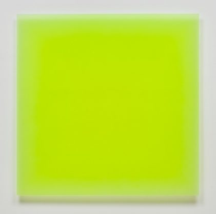2/24/12 (Flo Yellow Square), 2012, urethane, 40 x 40″