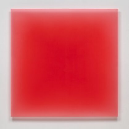 6/16/12, (Red Square), 2012, urethane, 40 x 40″