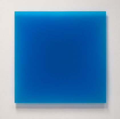 6/1/12 (Blue Square), 2012, urethane, 40 x 40″