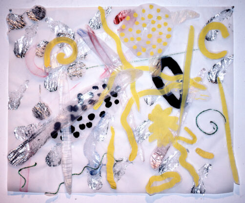 Yellowtail, 1981, acrylic and collage on vellum, 30 x 36″